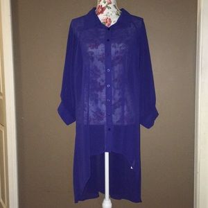 City Chic Blue Sheer Tunic Top Large 20 | Cut Out